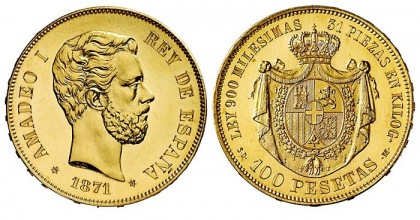 Amadeo I 100 Peseta coin