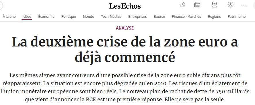 la deuxième crise de la zone euro déjà commencé