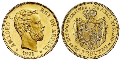 Amadeo I 25 Peseta coin