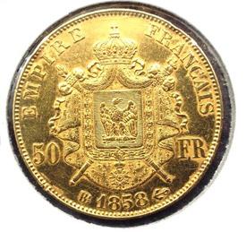 50 francs Napoléon III tête nue - revers