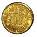 Napoléon 20 Francs Napoléon III Tête Laurée revers