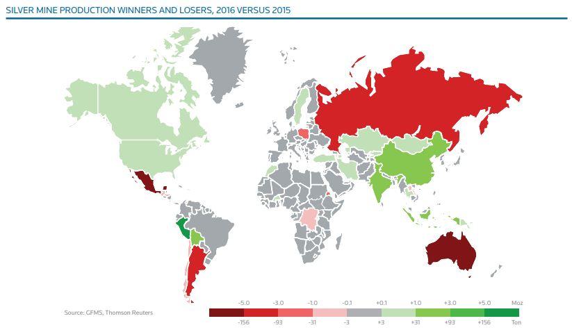 Tendance entre 2015 et 2016 pour les pays producteurs d'argent - source Silver Institute