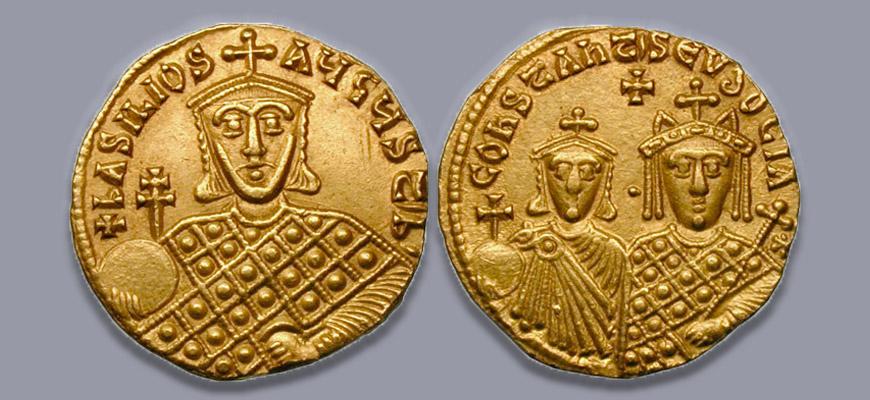 Pièce en or Solidus Basile 1er