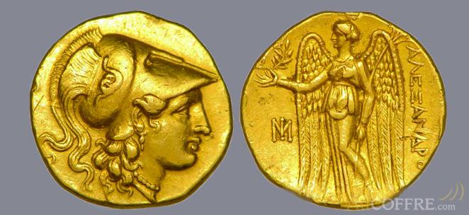 Pièce or Satère grec Alexandre le Grand
