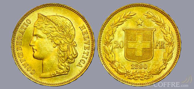 Pièce or 20 Francs suisse