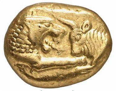 Créséide, pièce d or de Lydie (VIème siècle avant JC) - Avers - Source Sacra-Moneta.com
