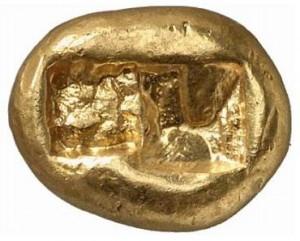 Créséide, pièce d or de Lydie (VIème siècle avant JC) - Revers - Source Sacra-Moneta.com