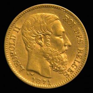 Pièce d'or Belge issue de l'Union Monétaire Latine - Léopold II 1871 - avers