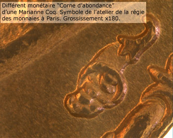 """Marca de ceca """"cuerno de la abundancia"""" de una Marianne Coq. Símbolo del taller de la Casa de Moneda de París. Ampliación x180"""
