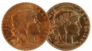 Pièces d'or Marianne Coq 20 Francs. D'origine et refrappe