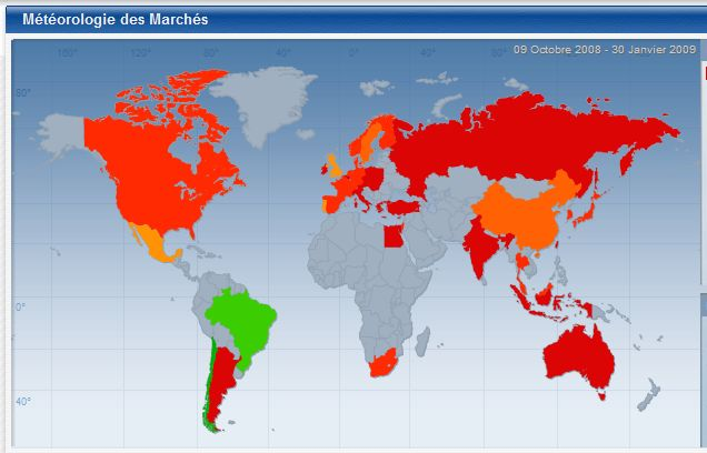 Les performances boursières entre le 9 octobre 2008 et le 30 janvier 2009