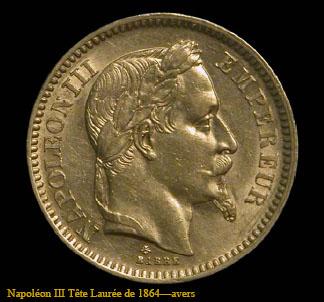 Pièce en or Napoléon tête Laurée de 1864
