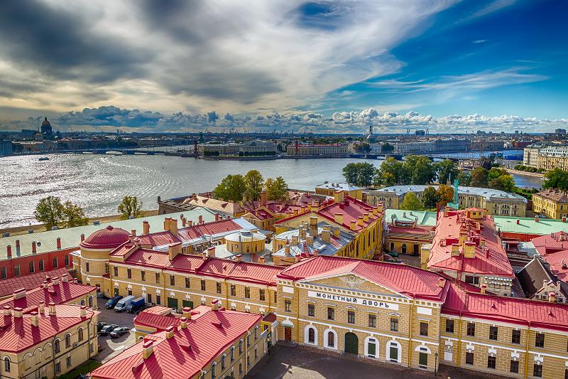 Or Russe : Bâtiment de la forteresse de la Monnaie Russe à St-Petersbourg