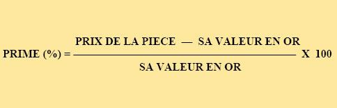 Calcul simple de la prime d'une pièce d'or