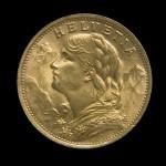 Avers de la pièce d'or 20 Francs Suisse Vrénéli