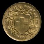 Revers de la pièce d or 20F Suisse Vrénéli ou Tête d'Helvetia